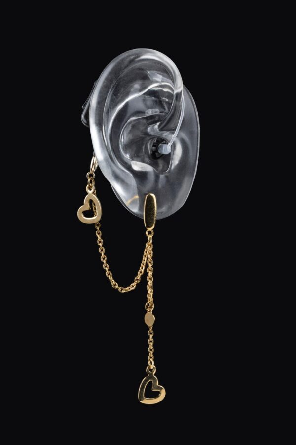 Golden hearts design of the Deafmetal USA collection of hearing aid earrings and hearing aid or cochlear implant jewelry