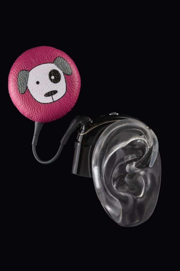 pink dog design of cochlear implant coil hat from Deafmetal USA