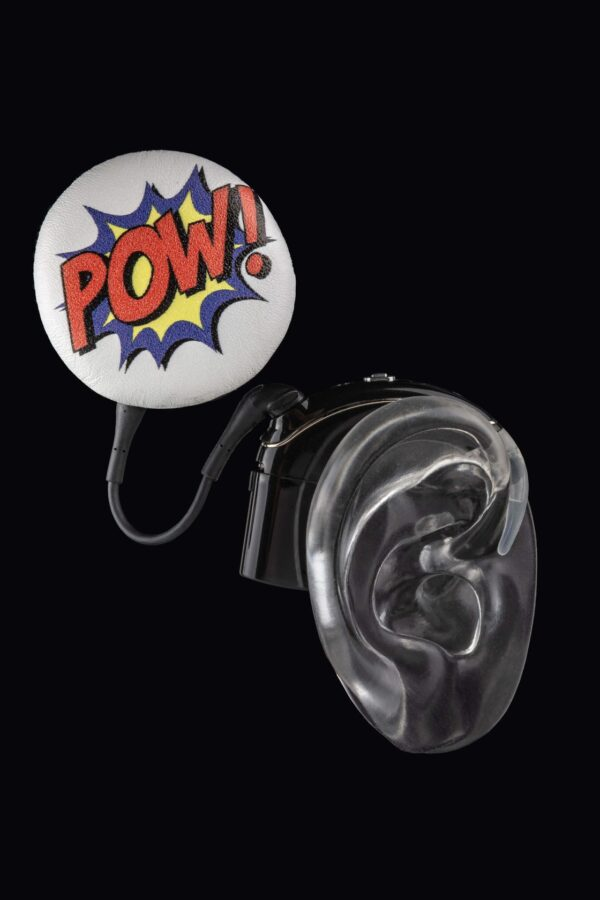 """""""Pow"""" cochlear implant coil hat from Deafmetal USA"""