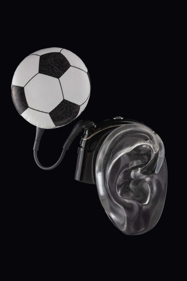 soccer ball Deafmetal cochlear implant coil hat