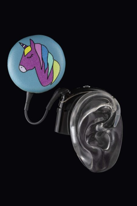 unicorn design of Deafmetal cochlear implant coil hat in blue leather