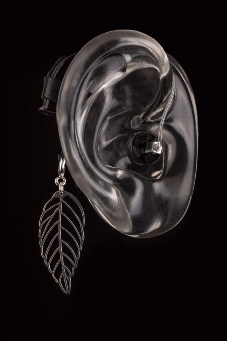The Leaf Design of Deafmetal hearing aid and cochlear implant jewelry