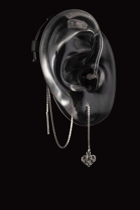 Z-heart design of cochlear implant or hearing aid jewelry from Deafmetal